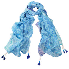 Angelica Hand Printed Cotton Scarf (Blue & Red)