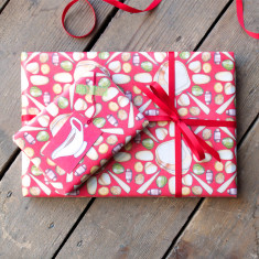 Christmas dinner wrapping paper set