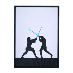 Star Wars the duel 2 silhouette framed print