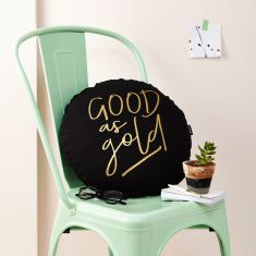 Good As Gold Metallic Round Cushion