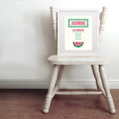 Personalised tutti frutti name & birth art print