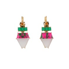 Green, marbled pink and white stone clip-on earrings