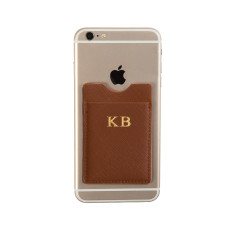Personalised Phone Card Holder (Tan)
