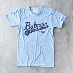 Blue Balmain script vintage t-shirt