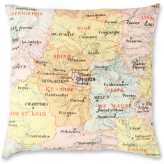 French Map linen cushion cover