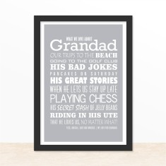 We love grandad personalised print (various colours)