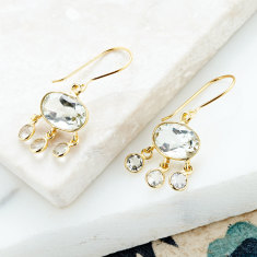 Baby jellyfish drops with green amethyst