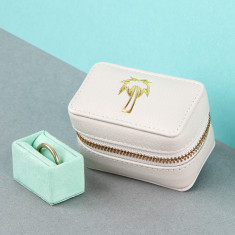 Travel Motif Embossed Soft Leather Ring and Trinket Box for Travel