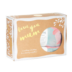 Love You Mum Gift Pack - Lavender wheatbag and eyepillow in Lotus print