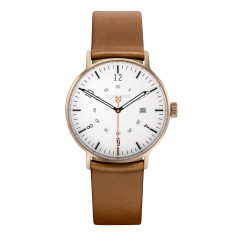 Bronze 39mm watch with natural leather band