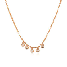 Twinkle 5 Diamond Necklace In Rose Gold Plate