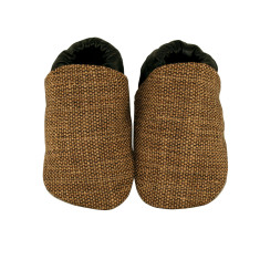 Black/brown tweed fabric baby shoes