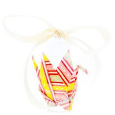 Origami Crane Hope in a Box - Pink Stripes