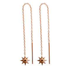 Falling Star Thread Earring in Rose Gold
