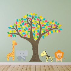 Tree With Giraffe, Elephant, Zebra and Lion Wall Sticker