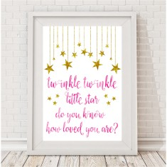Twinkle twinkle gold and watercolour print