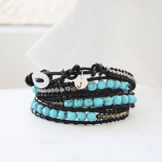Personalised natural stone and leather wrap bracelet in turquoise and black