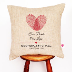 Two people one love personalised cushion cover