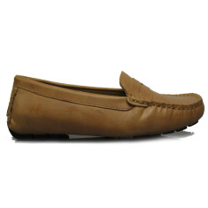 Women's Jade flap leather camel brown loafers