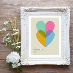 Personalised two hearts wedding or engagement print