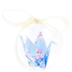 Origami Crane Hope in a box - Blue Cloud Blossom