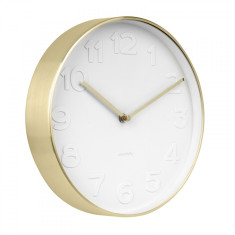 Mr White Numbers Wall Clock Small - Brushed Gold