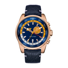 CAT Worldtimer series with alarm in rose gold plated steel with blue and yellow face