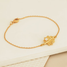 Gold Leaf Bracelet with Pearl