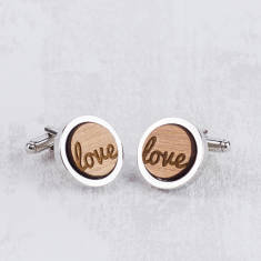 Wooden love cufflinks