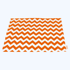 Tangerine Orange Chevron pet mat for feed bowls
