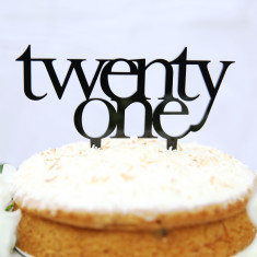 Twenty one birthday cake topper - Various Colours Avail