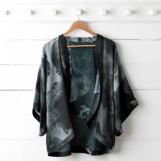 Black Ink Silk Kimono Top