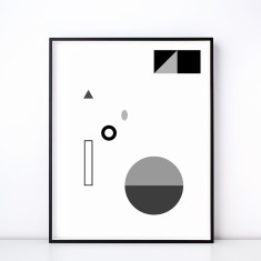 Fete No. 3 Monochrome Geometric Art Print