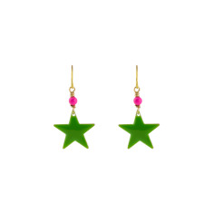 Green megastar earrings