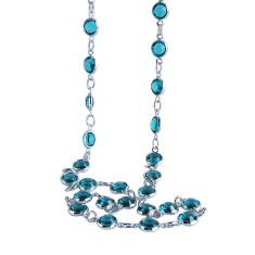 Swarovski crystal jewelled chain necklace in blue zircon