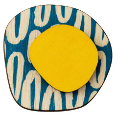 Retro brooch with blue and yellow