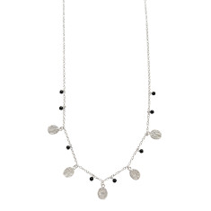 Urban stones extra long silver necklace with agate beads and silver discs