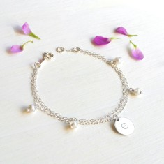 Personalised Sterling Silver Initial Disc, Freshwater Pearl and Double Chain Bracelet