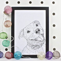 Staffordshire Bull Terrier Dog Line Portrait Print