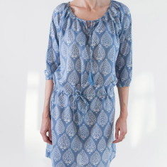 Drawstring dress in cornflower blue