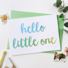 Hello Little One Baby Boy Card