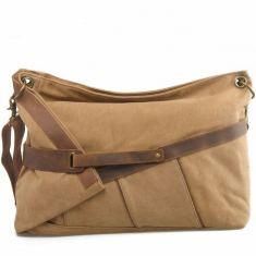 Canvas shoulder bag in tan