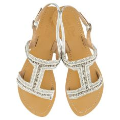 Emily leather sandals in white & silver