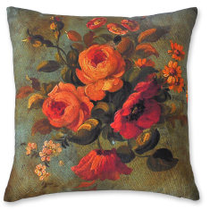 Vintage Flowers linen cushion cover