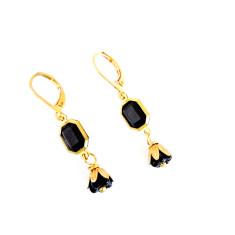 Noir Vintage Lucite & Czech Glass Drop Earrings