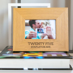Personalised address oak photo frame
