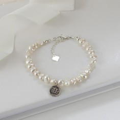 White Pearl Bracelet with Sterling Silver Zodiac Charm