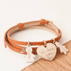 Women's personalised leather wrap & Family charm bracelet (various colours)