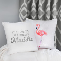 Personalised Reveal Sequin Flamingo Cushion