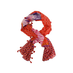 Patchwork cotton scarf with tassels